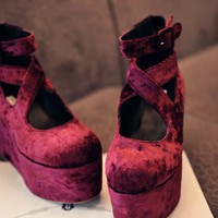 3 Colors Velvet Platform shoes