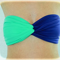 Beach Bandeau Neon Mint - Navy, Twisted Spandex, Strapless Bra, Bandeau Top, Bandeau Bikini