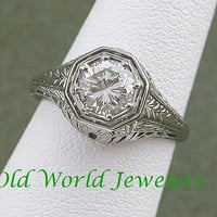 18K White Gold Filigree Ring w .91ct Diamond from oldworldjewelers on Ruby Lane