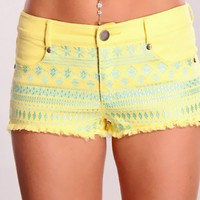 Yellow Seafoam Threaded Design Shorts