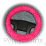 Barbie Pink faux fur furry car Steering wheel cover