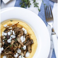 miso mushrooms with polenta | onebitemore