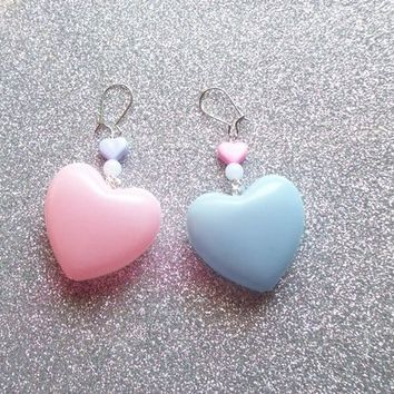Sweet Pastel Pink and Purple Heart Earrings from On Secret Wings