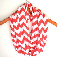 SOFT Coral Chevron Infinity Scarf  Zig Zag  Loop by Prettyloulou