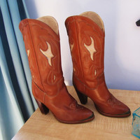 vintage leather Zodiac cowgirl boot. cognac color. size 5.5 boot. western boot. cowboy boot. Zodiac