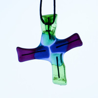Fused glass art suncatcher fan pull light pull by eyeseesage