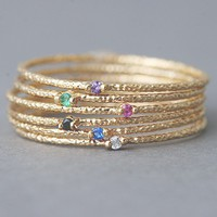 Yellow Gold Stackable Thin Rings Set of 6 from Kellinsilver.com