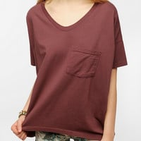 Urban Outfitters - Skargorn Oversized V-Neck Tee - Raisin