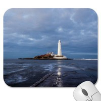 Dusk at St Mary's Lighthouse II Mousepad from Zazzle.com