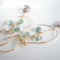 Ametrine and Apatite gold earrings by SummerBucket on Etsy