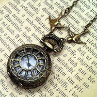 Brass Pocket Watch Necklace number 2 - $30.00 : RagTraderVintage.com, Handmade Indie Retro Accessories