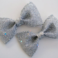 Pair of Silver Glitter Tuxedo Hairbow Bows by SaraOlsenDesigns