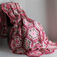 Afghan- Handmade Queen Hexagon Crochet Blanket - Pinks and Pink Camo