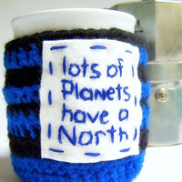 Coffee Mug Tea Cup cozy Ninth Doctor Who blue black funny crochet handmade cover