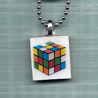 Rubik's Cube Pendant, Scrabble Tile, Comes with Chain, Geek Gift