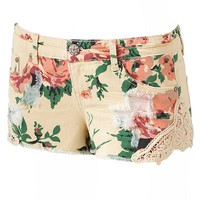 Vanilla Star Floral Crochet Shortie Shorts - Juniors