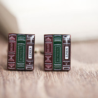 Men Cufflinks - Bookworm - Reader cuff links for him - Book cufflinks for men (C035)