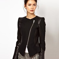 2nd Day Leather Panelled Jacket with Sharp Shoulders at asos.com