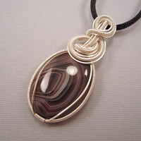 Wire Wrapped Pendant Botswana Agate Cabochon in by UptightWanda
