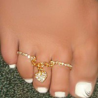 SEXY Feet Double Rings Crystal  heart toe ring attched chain Charm One size Fit