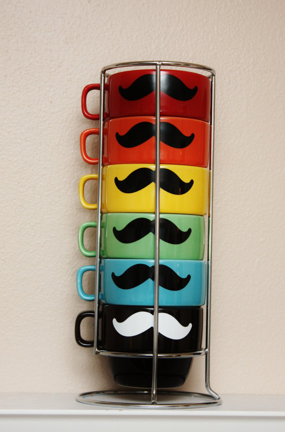 Stacking Mustache Mug Set  Multi Colored with by TheBeautifulHome