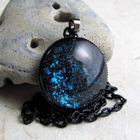 Aqua Black Sparkle Necklace  Galaxy Necklace  by AshleySpatula
