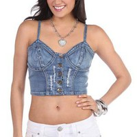 cropped denim bra cup corset top - debshops.com