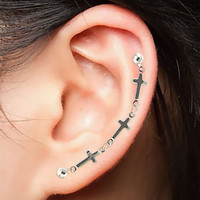 Delicate CROSS CARTILAGE Double Earring. Surgical Steel Ear Post, Chain Piercing