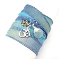 Silk Ribbon Bracelet with Om Charms and by charmeddesign1012