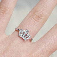 Fashion rhinestone Lovely crown ring