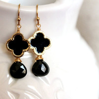NEW  black earrings - lovely black onyx earrings