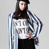FOXCiTY Double-Breasted Striped Jacket