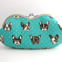 Sunglasses case / Eyeglass Case -gray linen-french bulldog in mint blue