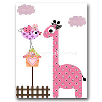 "Art for Kids Room, Kids Wall Art, Baby Girl Nursery Room Decor, Baby Nursery print 8"" x 10"" Print, giraffe, birds, decoration, rose, artwork"