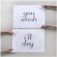 Tea(m) Towels - set of 2 extra large tea towels - fair trade organic cotton - eco-friendly wedding gift / housewarming gift - kitchen towels