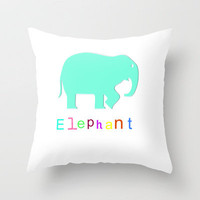 Elephant- Throw Pillow by Laura Santeler