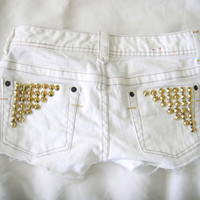 SALE - White Denim Shorts with Gold Studs Sz 24,0