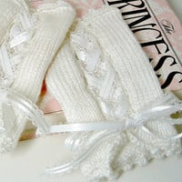 White Fingerless Gloves Knitted Corset Style with by SewcialGraces