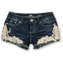 Almost Famous Kara Medium Blue Crochet Denim Shorts