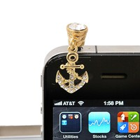 Gold Plated Crystal Anchor Charm iPhone Jack Anti Dust Plug Cover Stopper