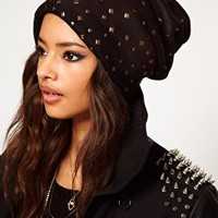 ASOS Mixed Stud Boyfriend Beanie at asos.com