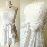 Forever 21 White Embroidered Eyelet Lace Strapless Mini Summer Cotton Dress - L