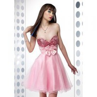 A-line Princess Strapless Mini Satin with Shiny Beading Cocktail Dress