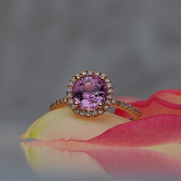 2ct Cushion Lavender Peach Champagne Sapphire 14k rose gold diamond  Engagement Ring