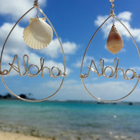 Aloha Sterling Silver Wire Wrapped Seashell Earrings