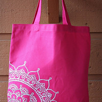 SALE - Hot Pink Tote Bag Book Bag Beach Bag with White Mandala