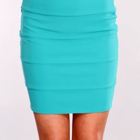 Jade Stitched Pencil Skirt