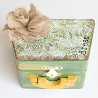 Boho Jewelry Box, Green and Gold Print Box, Altered Wood Box, Decorative Box