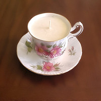 Fine Bone China Teacup and Saucer soy candle - rose bouquet fragrance, mothers day, easter, spring, summer
