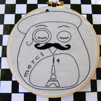 Embroidery Pattern PDF French Beret Moustache Mustache Paris Owl